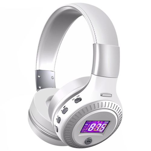 Wireless Bluetooth Headphone Super Bass Stereo Headset TF Card MP3 Playback FM Radio Handsfree With Microphone(B19-White) XIAOY