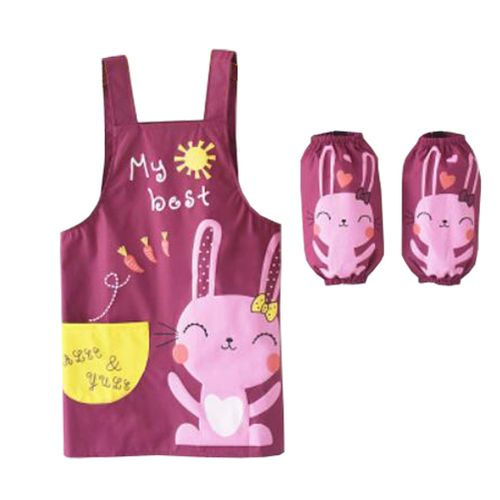 Child Apron With Pocket And1Pair Oversleeves,Rabbit Purple