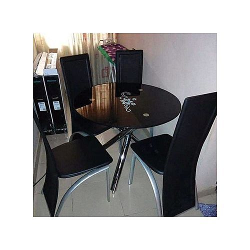 ROUND Dining Table With 4 Seater (BLACK )