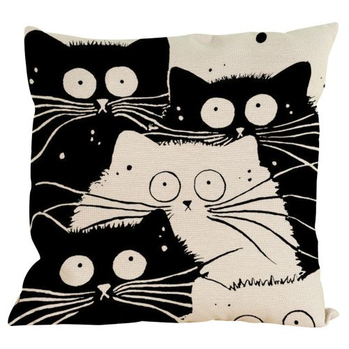 Vintage Cat Dog Cotton Pillow Case Sofa Waist Throw Cushion Cover Home Decor G