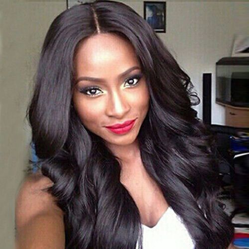 Dark Brown Brazilian Hair African American Curly Wavy Women Wig Hair