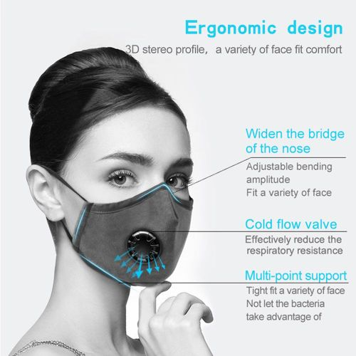 Reusable Mouth Cover Dust Proof Mask With Breather Valve