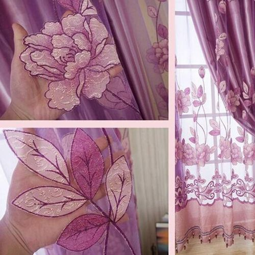 250cmx100cm Print Floral Voile Door Curtain Window Room Curtain Divider Scarf