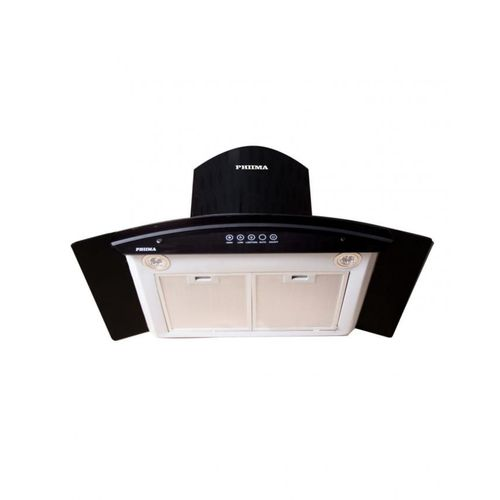 90cm Curved Glass Range Hood Smoke Extractor [Double Hood} Charcoal Filter