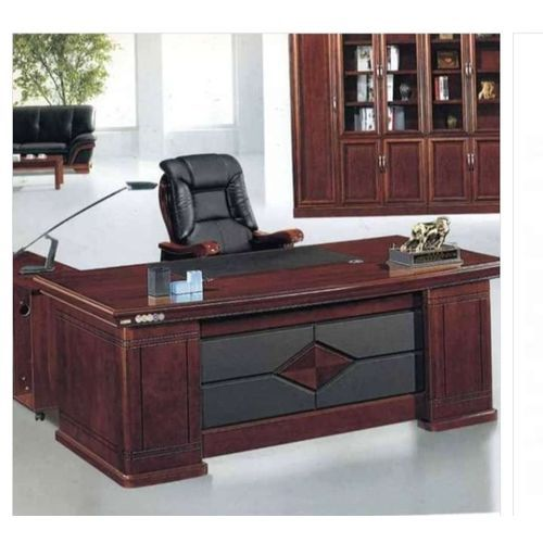 Executive Boss Office Work Desk + Reclining Leather Chair