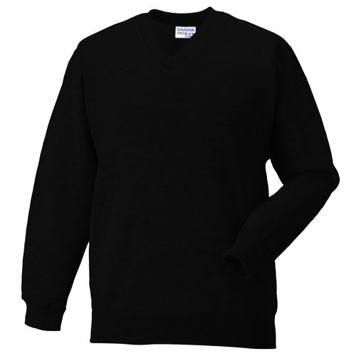 Plain V Neck Sweatshirt- Black
