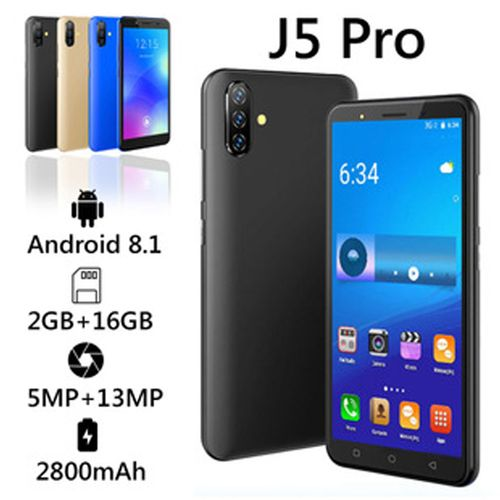 "J5 Pro Smartphone 5.0"" Inches 2GB, 16GB ROM Android 8.1, (5MP + 13mp)-black"