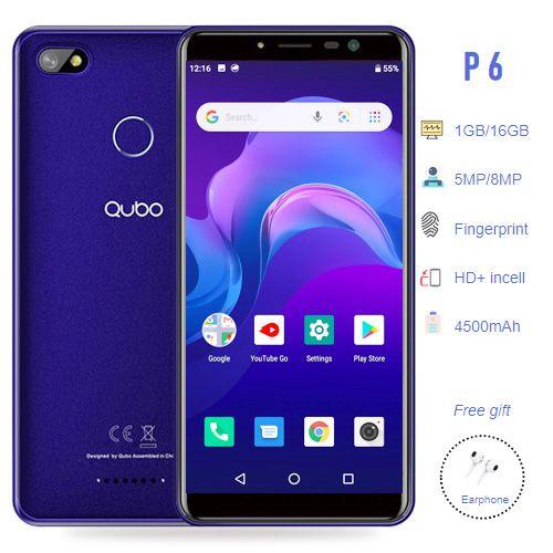 P6 5.45 Inch HD+ Incell (1GB, 16GB ROM), 5MP + 8MP Camera, 4500 MAh Big Battery, Fingerprint,3G Android Smartphone