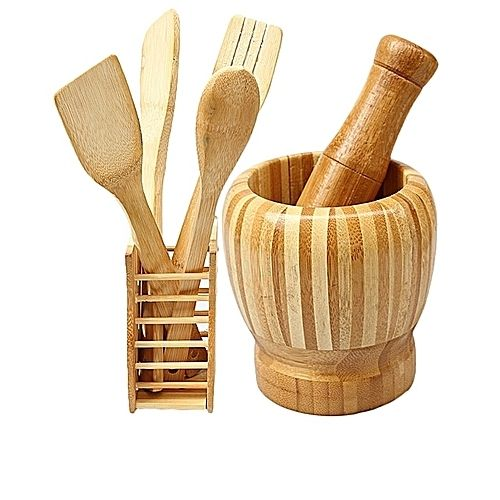 Wooden Spoons Set, Mortar And Pestle