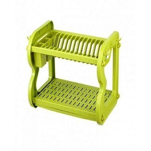 2 Layer Plastic Dish Rack & Utensil Drainer Compartment