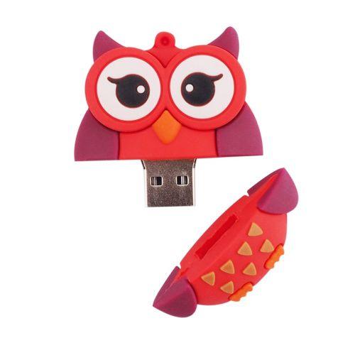 Cartoon Owl Pen Drive USB Flash 2.0 U-disk External Memory Stick Red & Purple