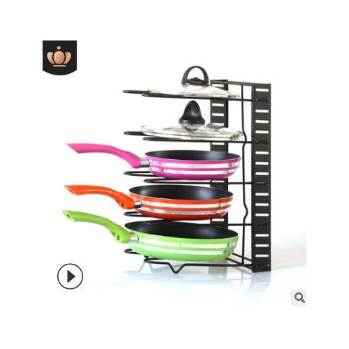 5 Tiers Black Pan Organizer Rack Foldable Pot Racks Kitchen Storage Pot Holder
