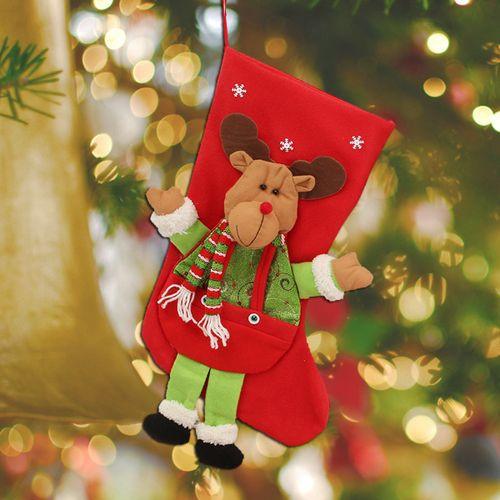 Christmas Stocking Sock Santa Claus Snowman Candy Gift Bag Tree Hanging Decor
