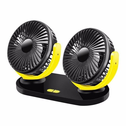 Double-head Mini Car Fan Adjustable Direction