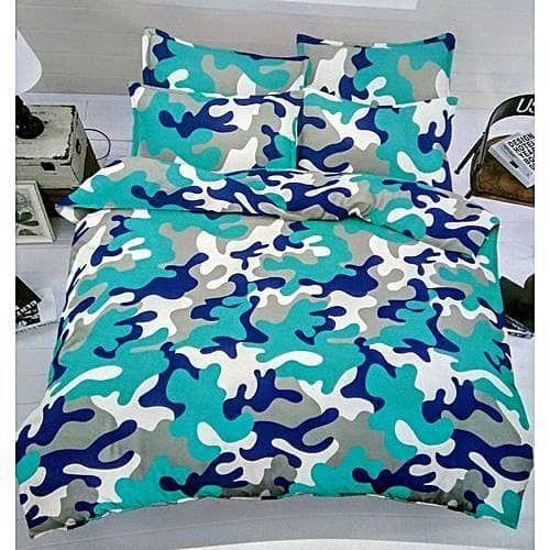 Bedsheet With Four Pillows - Blue Camo