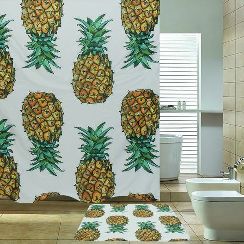 2Pcs/Set Pineapple Pattern Print Polyester Fabric Shower Curtain With Bath Mat For Home Bathroom Decorative Bath Curtains