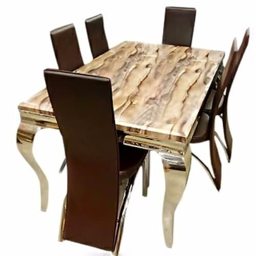 Elegant Marble Dinning With 6 Chairs (Lagos Delivery Only)