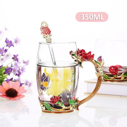 Red Rose Enamel Craft Water Cup Drink Mug With Handle