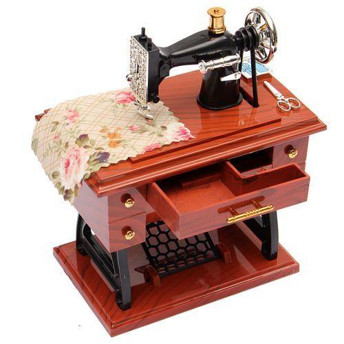 Vintage Music Box Mini Sewing Machine Style Mechanical Birthday Gift Table Decor