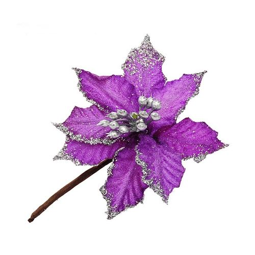New Artificial Flowers Christmas Tree Ornaments 10cm Flannel Double Sticky