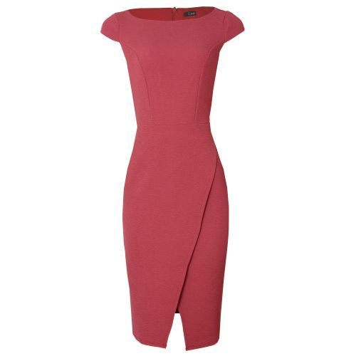 Cap Sleeve Fitted Corporate Wrap Dress