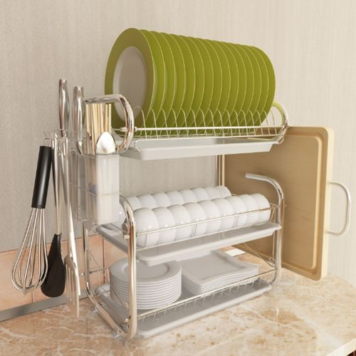 Dish Cup Drying Rack Holder Sink Drainer 3-Tier Dryer Stainless Steel Space Save