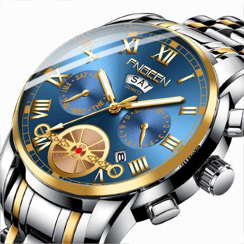 Blue Double Calendar Business Waterproof Quartz Men's Watch - Silver & Gold