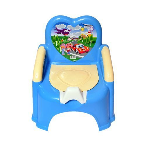 KIDS POTTY/POT/ POLL WITH BACK REST - BLUE
