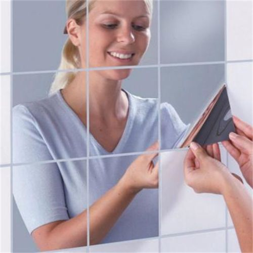 16 Pcs Decorative Mirrors Self-Adhesive Tiles Mirror Wall Stickers Mirror Decor (Not Real Mirror)