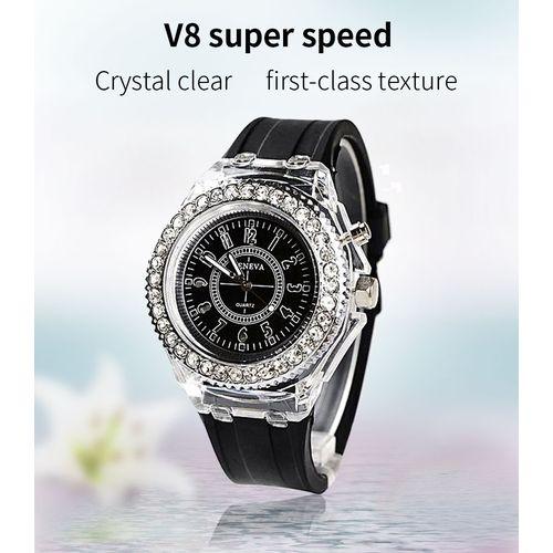Waterproof LED Backlight Sport Quartz Wrist Watch - Black