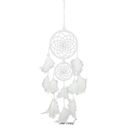 White Lace Flower Dream Catcher Wind Bell Decoration Feather Pendant Dream Catcher Creative Car Hanging Decoration
