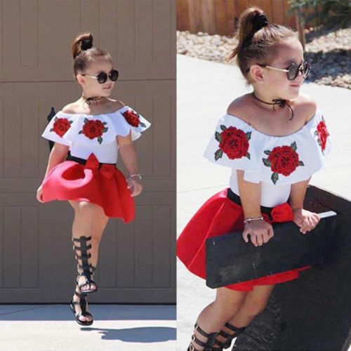 Toddler Baby Girls Sleeveless Off Shoulder Embroidery Rose Tops+ Skirt Princess Dress Outfits Suits Clothing Sets Musiccool