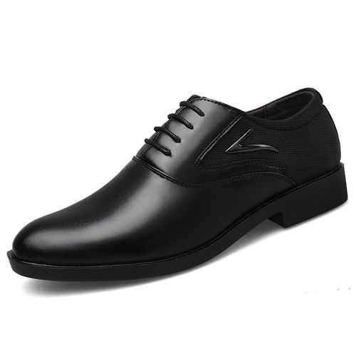 Man Pointed PU Leather Wedding Oxford Formal Shoes-black