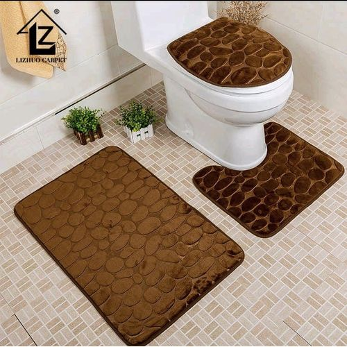 3Pcs/Set Bathroom Non-Slip Pattern Pedestal Rug+Lid Toilet Cover+Bath Mat