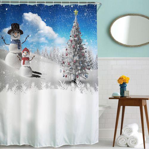 Hiamok_Dtrestocy Christmas Kids Waterproof Polyester Bathroom Shower Curtain Decor With Hooks F