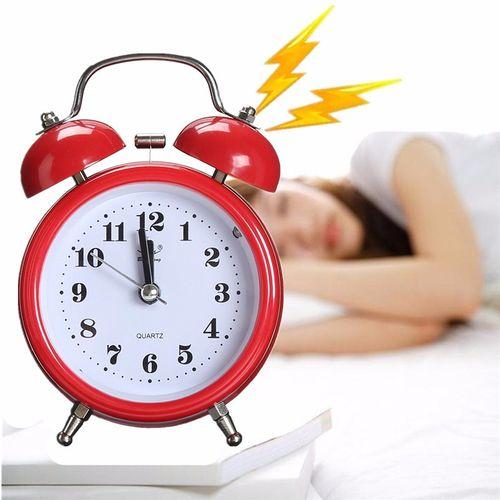 Classic Silent Double Bell Alarm Clock Quartz Movement Bedside W/ Night Light