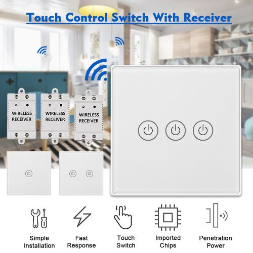 LOSKII 2 Gang Light Touch Panel Switch + Receiver Wireless Remote Lamp