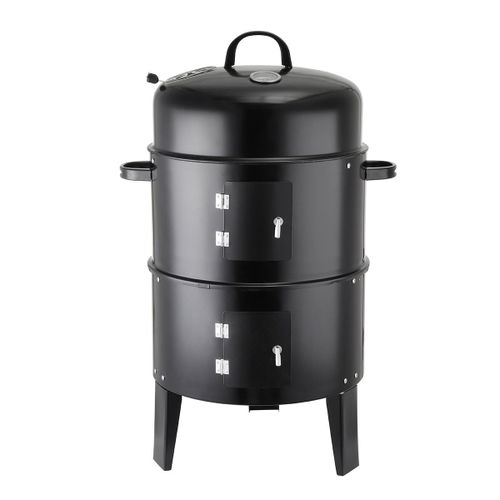 3in1 BBQ Grill Roaster Smoker Steamer - Steel Portable Outdoor Charcoal Cooking