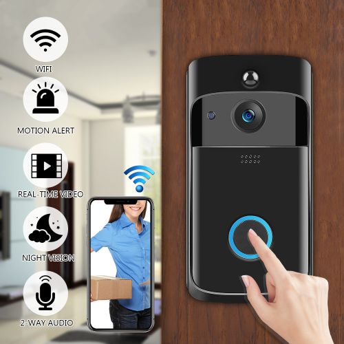 Smart WiFi Doorbell Wireless Video Camera Record 2-way Audio Home Bell Security