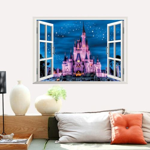 Bioaldla Store 3D Fake Castle Wall Of Setting Of The Sitting Room The Bedroom Window Stickers