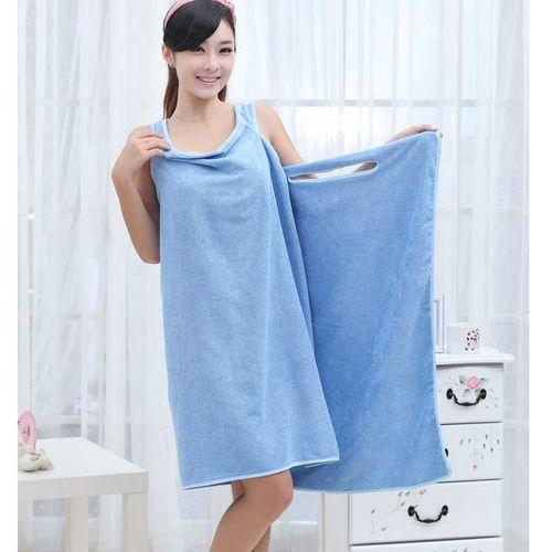 Female Wearable Bath Robe, Wrap Towel--Blue