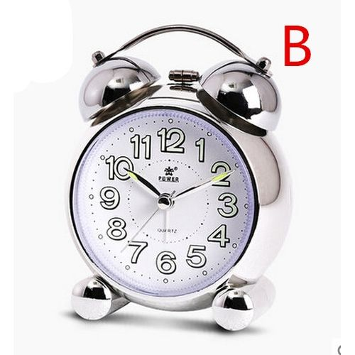 Fashion Mute Alarm Clock, Luminous Twin Bell Alarm Clock