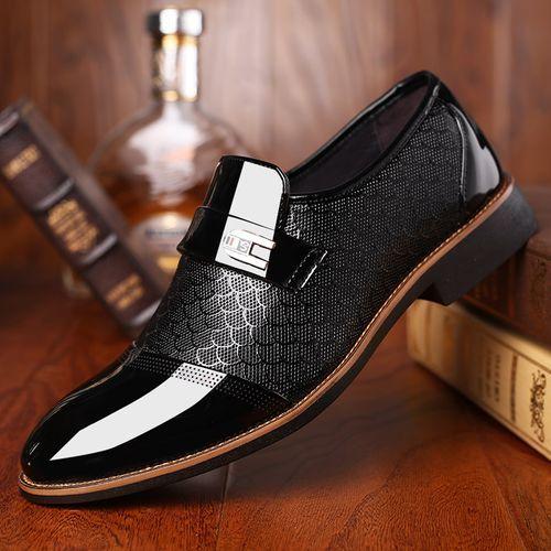 Men's Elegant Pointed Toe Formal Shoes - Black