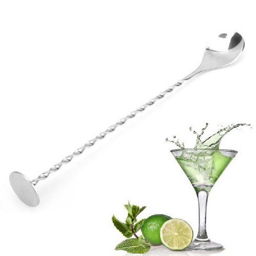 Stainless Steel Threaded Bar Spoon Swizzle Stick - Silver