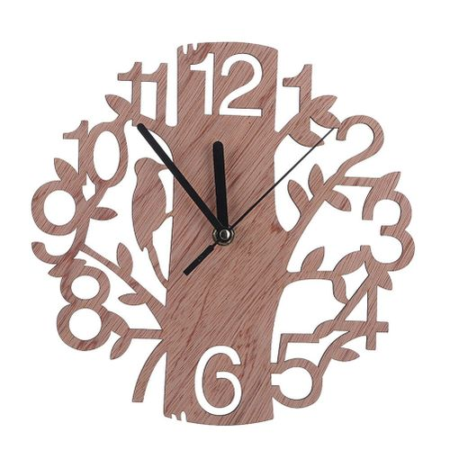 Rustic Art Wood Wall Clock Silent Non-Ticking Tree Shape Simple Design Wall Clock For Kitchen Office Home Decororation Brown HKS