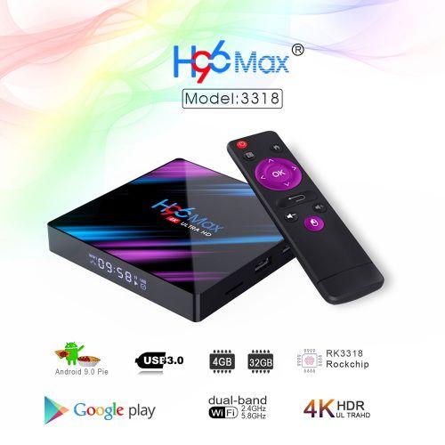 H96 MAX RK3318 Android 9.0 USB 3.0 Quad Core 4K HD Smart Bt 4.0 Smart TV Box - EU