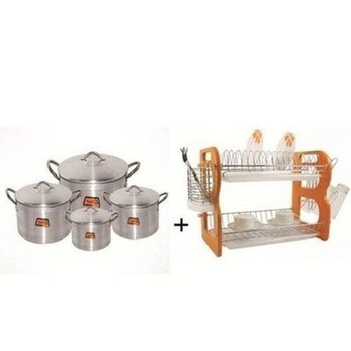 2 Tiers Plate Rack And Tower 4 Pot Set Bundle