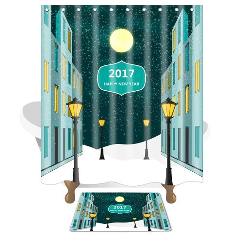 Dtrestocy Christmas Waterproof Polyester Bathroom Shower Curtain And Xmas Mat Decor