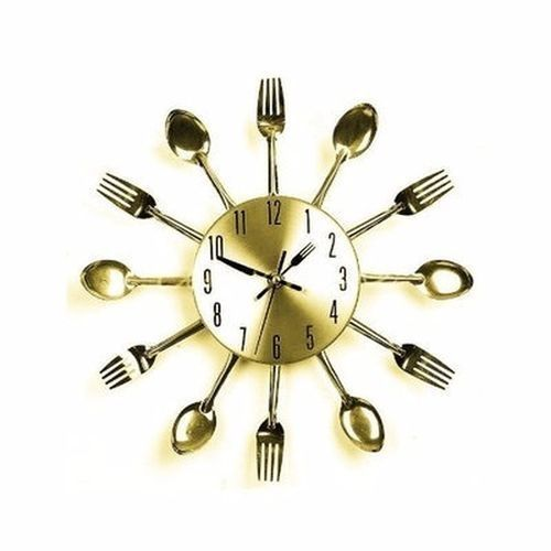 Cutlery Wall Clock - Gold