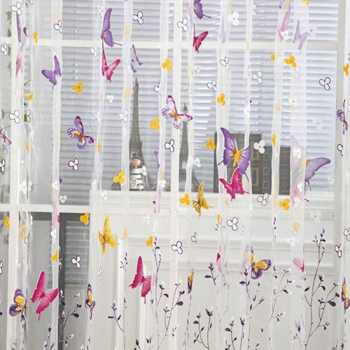 100 X 200 Cm Butterfly Print Sheer Vintage Embroidery Voile Window Panels For Bedroom